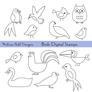 Birds outline. Bird outlines digital stamps