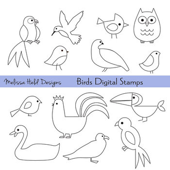 Bird outline. Outlines digital stamps clipart