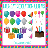 Birthday Cake and Gifts and Balloons Commercial Use Clip Art Pack