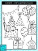 Clipart - Birthday Doodles Bright Colors