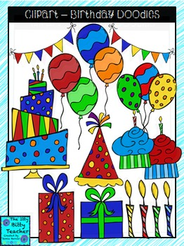 Clipart - Birthday Doodles Primary Colors