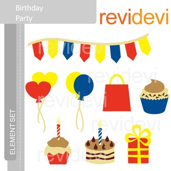 Clipart Birthday Party E061 (red, blue, yellow) clip art