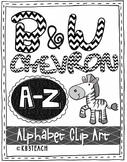 Alphabet Letters Clipart: Black Chevron Zebra Set (Uppercase A-Z)