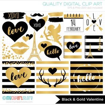 Clipart - Black & Gold Foil / Hipster / Modern Valentine's Day Elements
