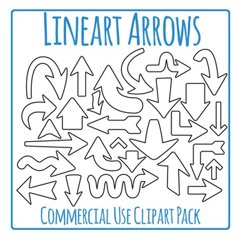 Arrows Clip Art Black and White Pack for Commercial Use