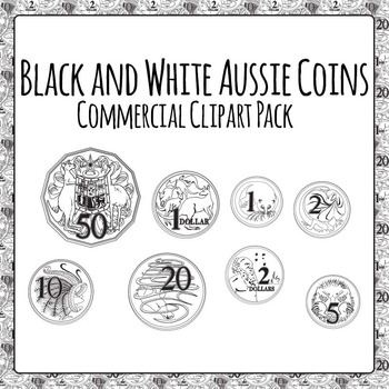 Australian Coins Black and White for Commercial Use
