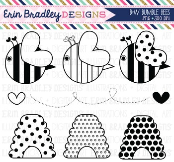 Clipart - Black and White Bumble Bees