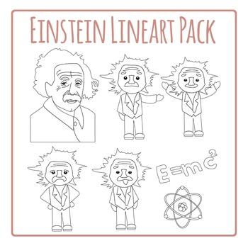 Einstein Line Art Clip Art Set