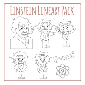Einstein Line Art Clip Art Set