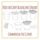 Fries or Chips Takeaway Clip Art Set for Commercial Use