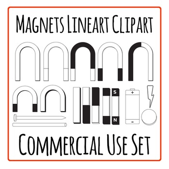 Magnets Lineart Clip Art Set for Commercial Use