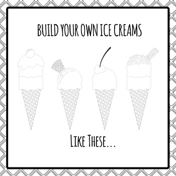 Ice Cream Black and White Build Your Own Clipart Pack for Commercial Use