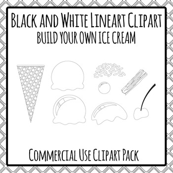Ice Cream Black and White Build Your Own Clipart Pack for
