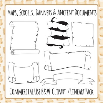 Scrolls, Maps, Banners and Ancient Documents (Black and White) Commercial Use