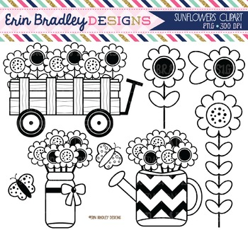 Clipart - Black and White Sunflowers