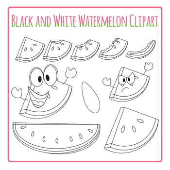 Watermelon Clip Art - Black and White Set for Commercial Use
