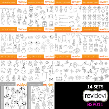 Clipart Black and White outline (Special Bundle Collection 11) - Digital Images