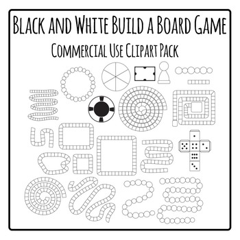 Build a Board Game (Black and White) Commercial Use Clip Art Pack