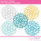 Clip Art: Blooming Blossom Flowers Clip Art Blue Yellow Gray