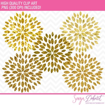 Clip Art: Blooming Blossom Flowers Clip Art Gold Glitter Foil