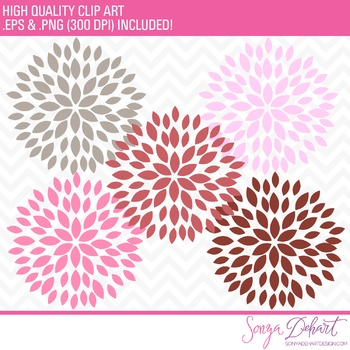 Clip Art: Blooming Blossom Flowers Clip Art Mauve Pink Gray