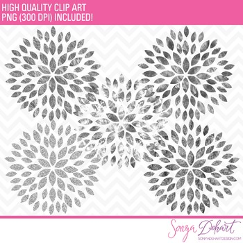 Clip Art: Blooming Blossom Flowers Silver Glitter Foil