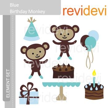 Clipart Blue Birthday Monkey - Cute clip art E070