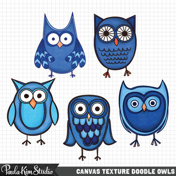 Clipart - Blue Canvas Owls