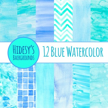 Watercolor Blue Handpainted Backgrounds Clip Art for Commercial Use