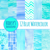 Watercolor Blue Handpainted Backgrounds / Digital Papers /