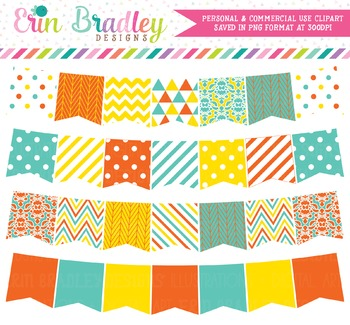 Clipart - Blue Orange Yellow Banner Flags