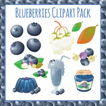 Blueberries Biology and Food Commercial Use Clip Art Pack