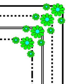 Clipart Boarders Black with coloured flowers.