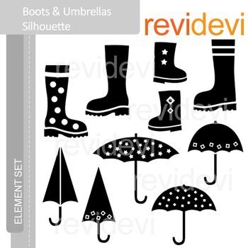 Clipart Boots and Umbrella silhouette (rainy day clip art) E038