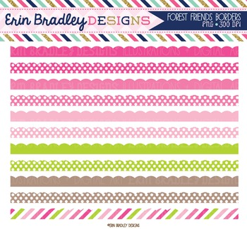 Clipart Borders - Pink Green and Brown Scalloped Frame Graphics