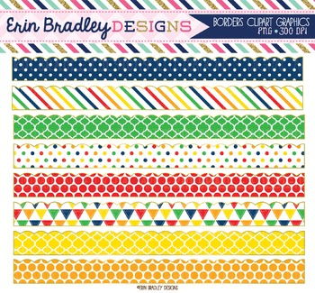 Clipart Borders - Primary Color Patterns