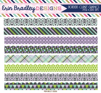 Clipart Borders - Purple Green Blue Charcoal