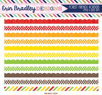 Clipart Borders - Red Green Orange Yellow Brown Scalloped Frame Graphics