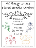 Clipart Borders:40 Floral Doodle Borders with Graphics-Eas