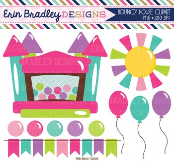 Clipart - Bounce House Girls Bunting Balloons and Sun Digital Graphics