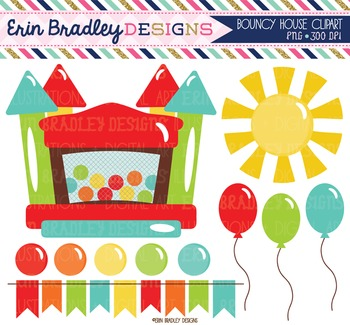 Clipart - Bouncy Castle Bunting Balloons and Sun Digital Graphics