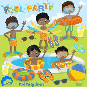 Clipart, Boys Pool party, Dark Skin Boys, Party Clipart, AMB-1263