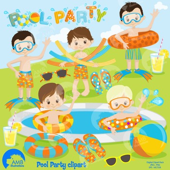 Clipart, Boys Pool party, Party Clipart, Digital Download, AMB-1259
