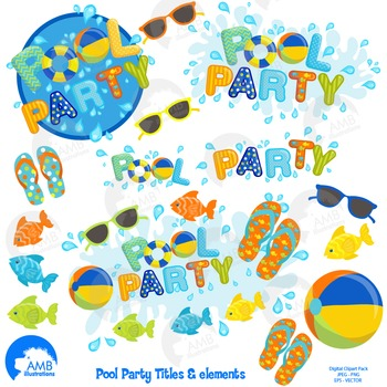 Clipart, Boys Pool party titles and embellishments, Party Clipart, AMB-1259