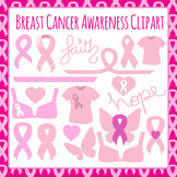 Breast Cancer Awareness Ribbons, Hearts, Tshirts etc. Clip Art Set
