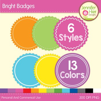 Clipart: Bright Badges Clip Art for TPT Cover Designs and Products