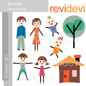 Family clip art - Brunette Stick Family (mom, dad, brothers, sisters, home)