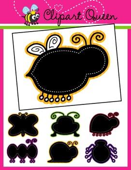 Clipart: Bug Color Chalkboard Borders