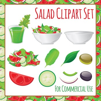 Salad - Build Your Own - Healthy Eating Clip Art Set for C