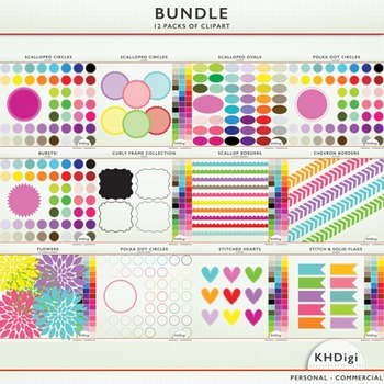 Clipart Bundle - Frames, Circles, Labels, and more!  12 Packs